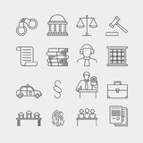 Law and justice thin line vector icons Royalty Free Stock Photo