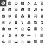 Law and justice vector icons set. Modern solid symbol collection, filled pictogram pack. Signs, logo illustration. Set includes icons as fingerprint Royalty Free Stock Photography