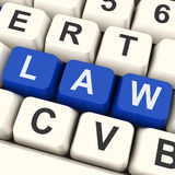 Law Key Shows Legal Or Judicial. Law Key Meaning Legally Statute Or Judicial stock photo