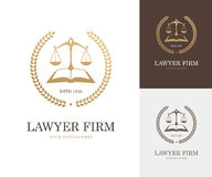 Law label with balance scale, open book and wreath in golden color Royalty Free Stock Photo