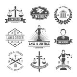 Law labels icons set Stock Images