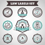 Law labels set Royalty Free Stock Image