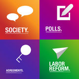 Law about labor reform and polls situation. Economy international accords for countries Stock Photos