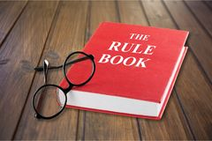 Law. Authority book glasses instruction manual red instructions royalty free stock photography