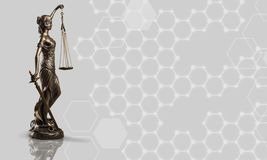Law. Yer statue justice background white advocate Royalty Free Stock Photo