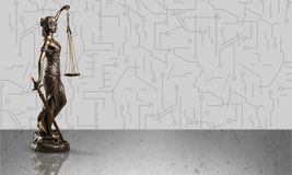 Law. Yer statue justice background white advocate Stock Photography