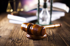 Law, legal code and scales of justice concept. Gavel, ambient light vivid theme Stock Photos