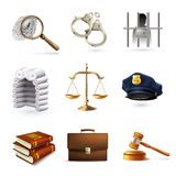 Law Legal Icons Set. Decorative law legal justice police icons set with briefcase scales prisoner isolated vector illustration Royalty Free Stock Images