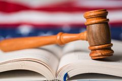 Law. Legal System Stability Gavel Government Book Flag Stock Photo
