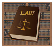 Law Library. Is an illustration of a law book used by lawyers and judges with a background of bookshelves filled with library books. Represents legal matters Stock Photo