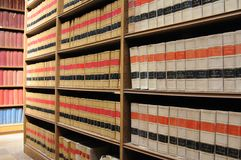 Law Library - Old Law Books. An image of shelves of old law books in a law library Stock Photo