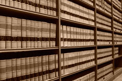 Law Library - Old Law Books 2. A sepia image of shelves of old law books in a law library Stock Photography
