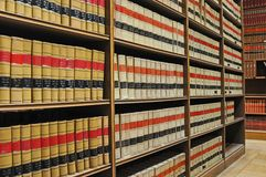 Law Library - Old Law Books. An image of shelves of old law books in a law library Royalty Free Stock Images