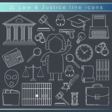 Law line icons stock illustration