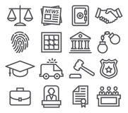 Law line icons. On white background Stock Photos