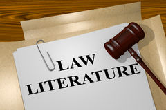 Law Literature concept. 3D illustration of LAW LITERATURE title on legal document Stock Images