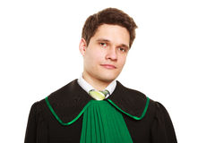 Law. Man lawyer attorney in polish gown isolated Royalty Free Stock Image