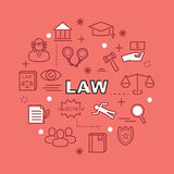 Law minimal outline icons Royalty Free Stock Images