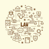 Law minimal thin line icons set Stock Images