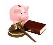 Law and money. Judicial 3d gavel and piggy bank. Objects over white Royalty Free Stock Images