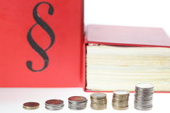 Law and money. A pile of money coins with law books in background Royalty Free Stock Photography