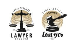 Law office, attorney, lawyer logo or label. Scales of justice, gavel symbol. Vector illustration. Law office, attorney, lawyer logo or label. Scales of justice royalty free illustration
