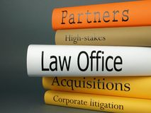 Law Office - Books. A horizontal stack of law-related book titles Stock Photo