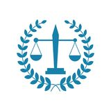 Law office logo. The judge, Law firm logo template, lawyer set of vintage labels. Universal legal, lawyer, scales creative premium symbol,Symbol of law and Stock Image