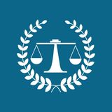 Law office logo. The judge, Law firm logo template, lawyer set of vintage labels. Universal legal, lawyer, scales creative premium symbol,Symbol of law and Royalty Free Stock Image