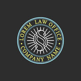Law office logo. Vector vintage attorney, advocate label, juridical firm badge. Act, principle, legal icon design. Stock Images