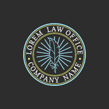 Law office logo. Vector vintage attorney, advocate label, juridical firm badge. Act, principle, legal icon design. Law office logo. Vector vintage attorney Stock Image