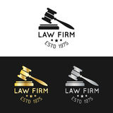 Law office logos set with gavel illustration. Vector vintage attorney, advocate labels,juridical firm badges collection. Law office logos set with gavel Royalty Free Stock Photography