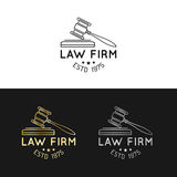 Law office logos set with gavel illustration. Vector vintage attorney, advocate labels,juridical firm badges collection. Law office logos set with gavel Stock Photography