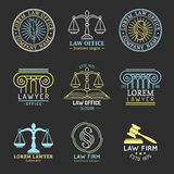 Law office logos set with scales of justice,gavel etc illustrations. Vector vintage attorney,advocate labels collection. Law office logos set with scales of Stock Photography