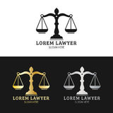 Law office logos set with scales of justice illustration. Vector vintage attorney,advocate labels,juridical firm badges. Royalty Free Stock Image