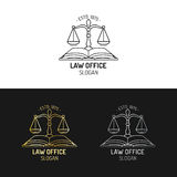 Law office logos set with scales of justice illustration. Vector vintage attorney,advocate labels,juridical firm badges. Law office logos set with scales of Stock Photography