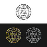 Law office logos set. Vector vintage attorney, advocate labels, juridical firm badges. Act, principle, legal icons. Law office logos set. Vector vintage Stock Images