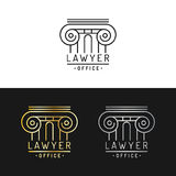 Law office logos set. Vector vintage attorney, advocate labels, juridical firm badges. Act,principle,legal icons design. Law office logos set. Vector vintage Royalty Free Stock Photos