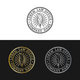 Law office logos set. Vector vintage attorney, advocate labels, juridical firm badges. Act,principle,legal icons design. vector illustration