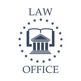 Law office vector icon of book, atrium and stars. Juridical or law icon for advocate or lawyer office. Vector emblem of advocacy or legal company. Badge with Royalty Free Stock Image
