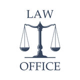Law office vector icon with Scales of Justice. Law or advocate office emblem. Vector icon with Scales of Justice symbol for juridical emblem of advocacy or Stock Image