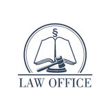 Law office vector legal icon of gavel and code. Legal office or center icon with symbol of judge gavel, justice law code, silcrow section sign or paragraph on Royalty Free Stock Photos