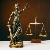 Legal statue Greek blind goddess Themis bronze metal statuette figurine with scales of justice stock image