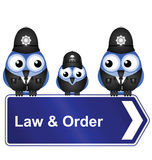 Law and order. Comical law and order sign isolated on white background Royalty Free Stock Image