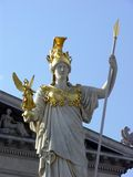 Law and Order. Statue of Pallas Athene in front of Austrian parliament as a symbol of protection of the democratic system Royalty Free Stock Photo