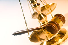 Law and Order. Wooden justice gavel and block with brass Royalty Free Stock Photos