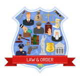 Law and Order Concept. With Ribbon, Shield and Flat Icons for Poster, Web Site, Advertising like Thief, Policeman, Lawyer, Judge Stock Image