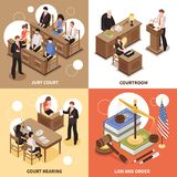 Law And Order 2x2 Design Concept. Law and order 2x2 isometric design concept with jury court courtroom court hearing square compositions  vector illustration Royalty Free Stock Photo