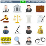 Law & Order Icons - Robico Series. Collection of 16 colorful law and order icons, isolated on white background. Robico Series: check my portfolio for the Stock Image