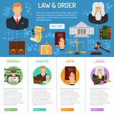 Law and Order infographics. With flat icons Lawyer, criminal, oath and judge. vector illustration Royalty Free Stock Image
